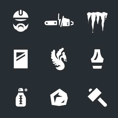 Vector Set of Ice Carving Icons.