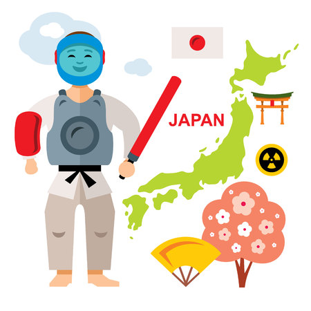 bandera japon: Vector Japan Travel Concept. Flat style colorful Cartoon illustration. Vectores