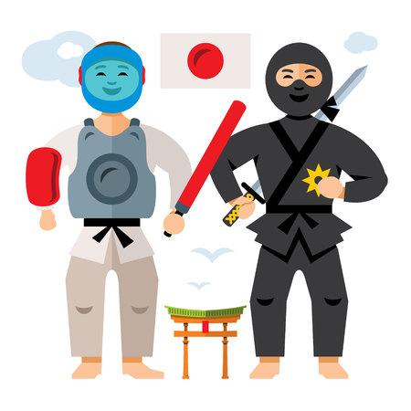 Vector Japan Sport People. Flat style colorful Cartoon illustration