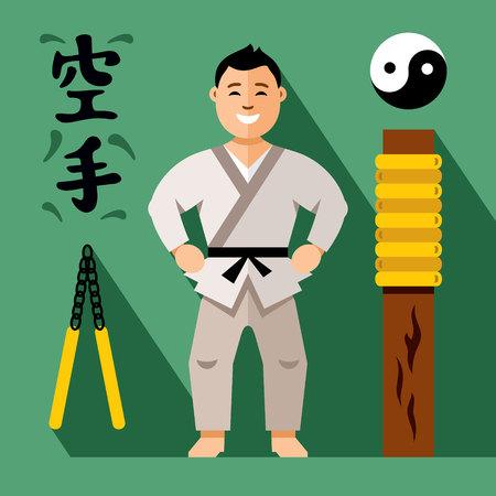 sensei: Vector Karate Fighter. Flat style colorful Cartoon illustration. Illustration