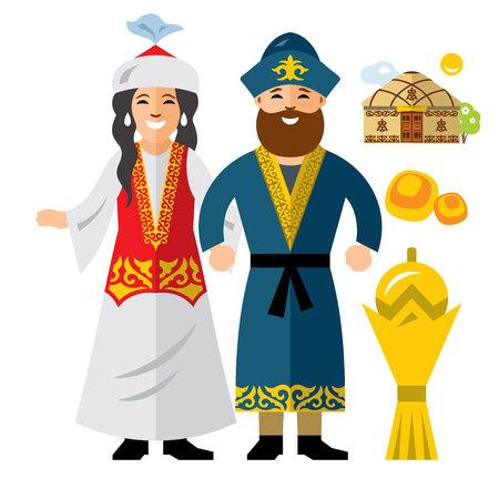 Vector Familia de Kazajistán. Ropa histórica. Kazajstán. Plano de estilo colorido ilustración de dibujos animados