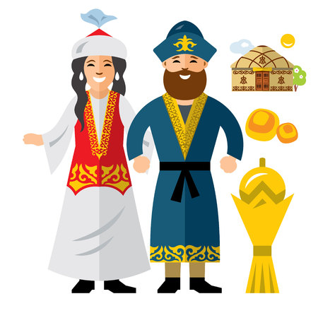 Vector Kazakh Family. Historical clothes. Kazakhstan. Flat style colorful Cartoon illustration