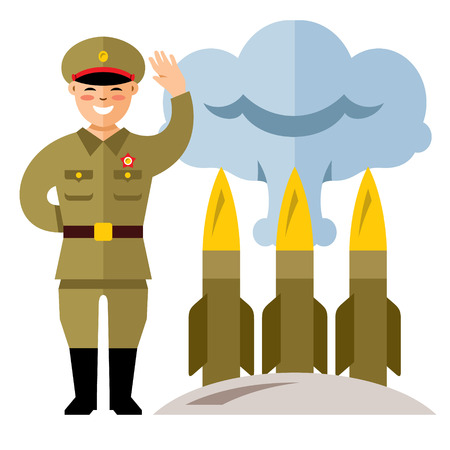Vector North Korea Missile System. Flat style colorful Cartoon illustration. Illustration