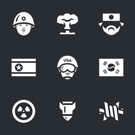 Vector Set of North and South Korea Icons.