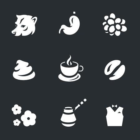 feces: Vector Set of Coffee Luwak Icons. Illustration