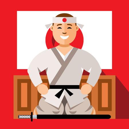 Vector Samurai japan. Flat style colorful Cartoon illustration. Illustration