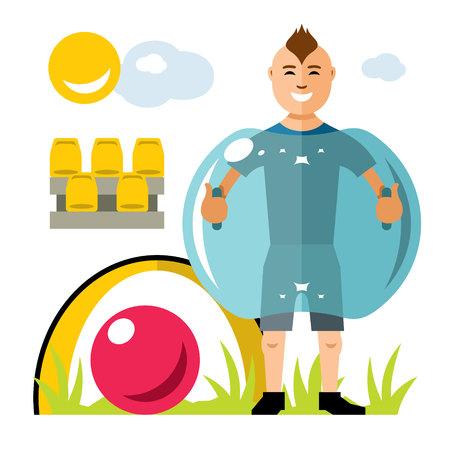 Vector Zorbing fútbol. Pelota de Parachoques. Inflable Zorb. Juego de deporte al aire libre. Ilustración de dibujos animados colorido estilo plano.