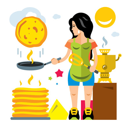 Girl cooking breakfast. Isolated on a white background