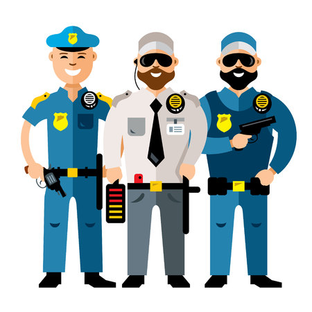 Vector Policeman and Security. Flat style colorful Cartoon illustration.
