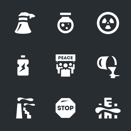 Vector Set of Enviroment Polution Icons.