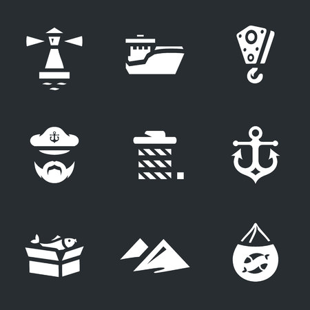 A Vector Set of Sea Port Icons.