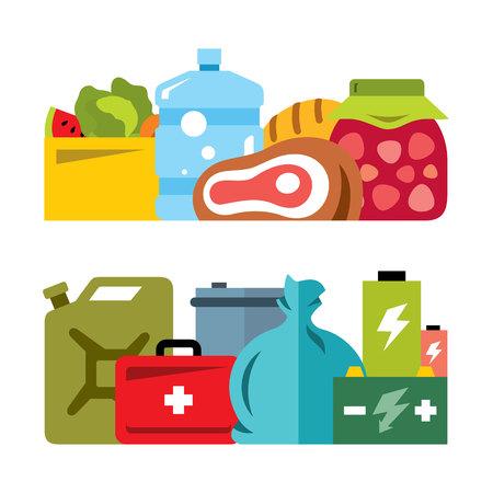provision: Vector Survival kit. Flat style colorful Cartoon illustration.