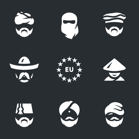 stateless: Vector Set of Immigrants Icons.