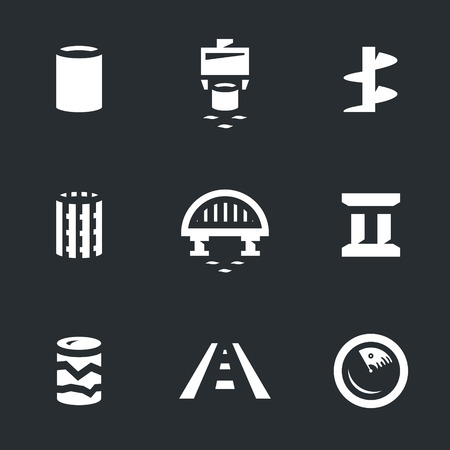 deep drilling: Vector Set of Bridge building Icons.