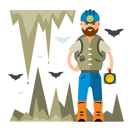 Vector Spelunker. Flat style colorful Cartoon illustration. Фото со стока