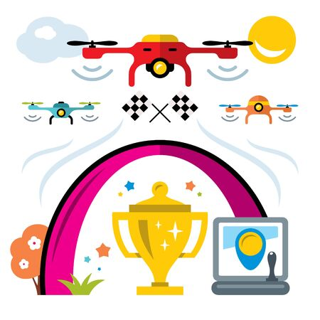 CHALLENGING: Vector Quadrocopter racing competition new sport. Flat style colorful Cartoon illustration.