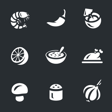 Vector Set of Tom Yam soup Icons. Stock Vector - 80176893