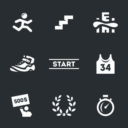 running: Vector Set of Skyscraper Marathon Icons.