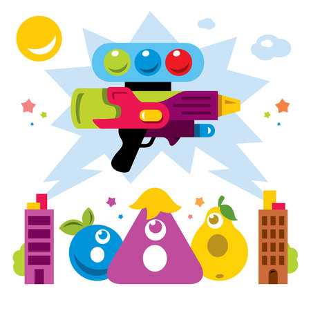 Vector Hunting for virtual creatures concept. Abstract mobile game. Flat style colorful Cartoon illustration. Illustration