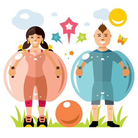 Chica y niño jugando juntos. Aislado en un fondo blanco