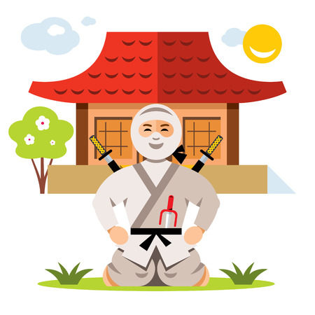 Warrior in white dress with swords sitting on his lap. Isolated on a White Background Illustration
