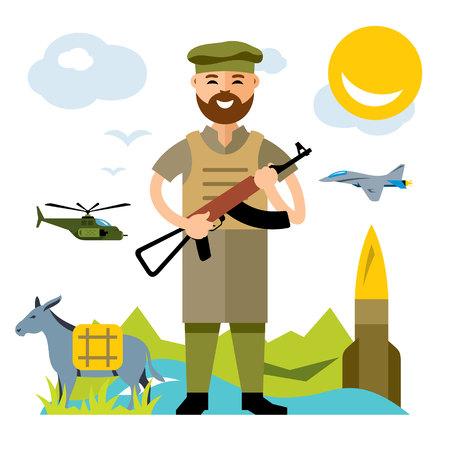 guerilla: Vector Afghanistan army. Flat style colorful Cartoon illustration.