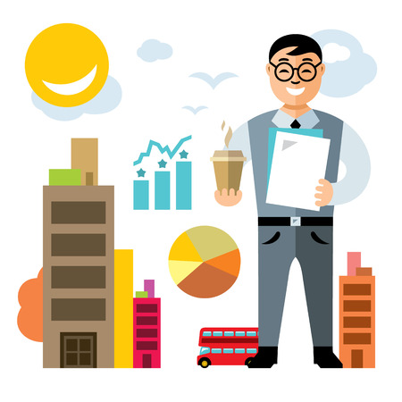 Vector Business man with coffee. Flat style colorful Cartoon illustration.