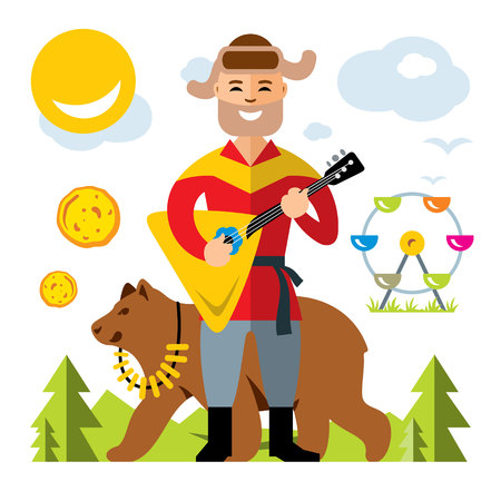 Vector Russian balalaika player. Flat style colorful Cartoon illustration.