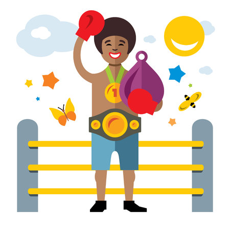 Vector Boxing success. Flat style colorful Cartoon illustration.