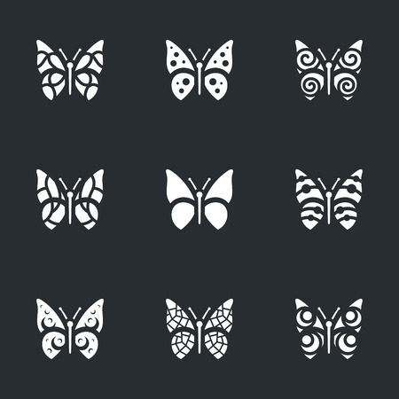 Vector Set of Butterfly Icons.