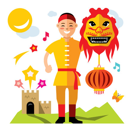 Vector Asian man with Chinese dragon. Flat style colorful Cartoon illustration. Illustration