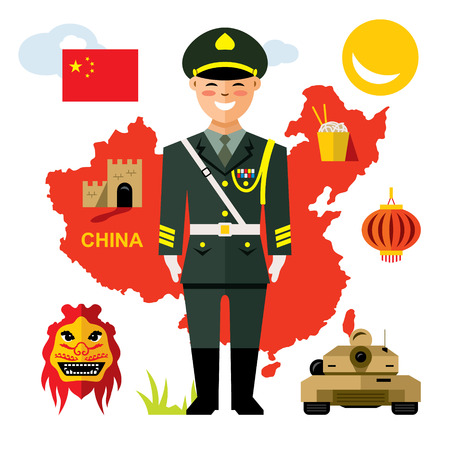 Vector Army of China. Flat style colorful Cartoon illustration. Illustration