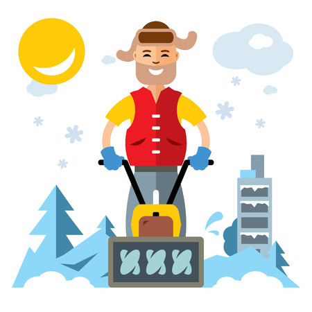 Vector Man with a Snow Blower. Flat style colorful Cartoon illustration.