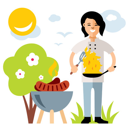 burning: Vector Cook with burning pan. Flat style colorful Cartoon illustration.