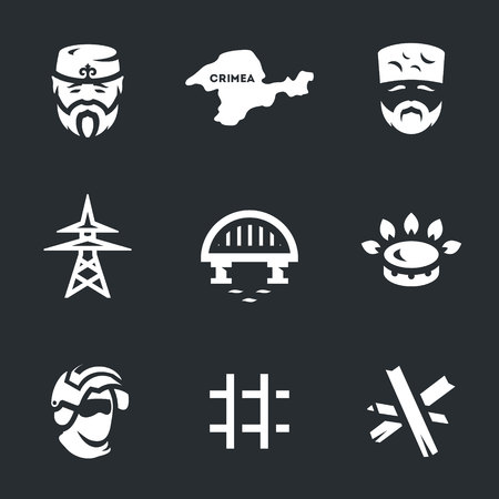 Vector Set of Crimea Blockade Icons.