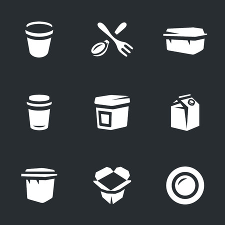 Vector Set of Disposable tableware Icons. vector illustration. Illustration
