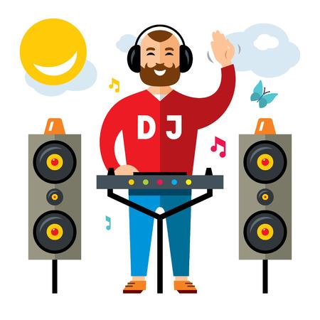 벡터 DJ 플랫 스타일 다채로운 만화 그림입니다. 일러스트