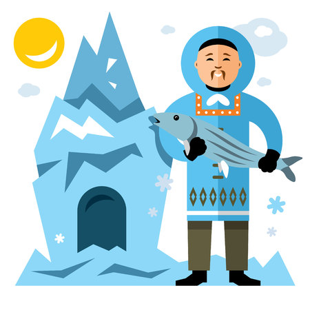 Vector Smiling Eskimo with fish. Flat style colorful Cartoon illustration.