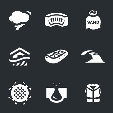 sewage: Rain, dam, sandbag, building, boat, tsunami, sewage, dam break, life jacket.