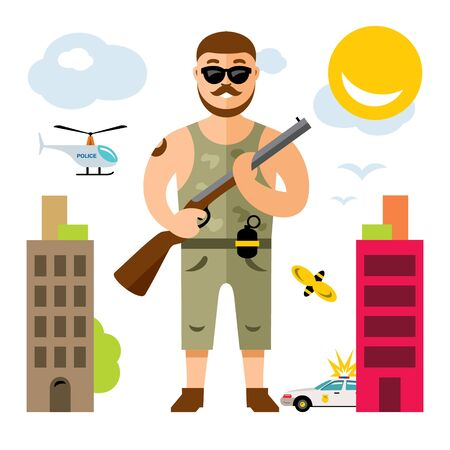 Vector Gunman with rifle. Flat style colorful Cartoon illustration.