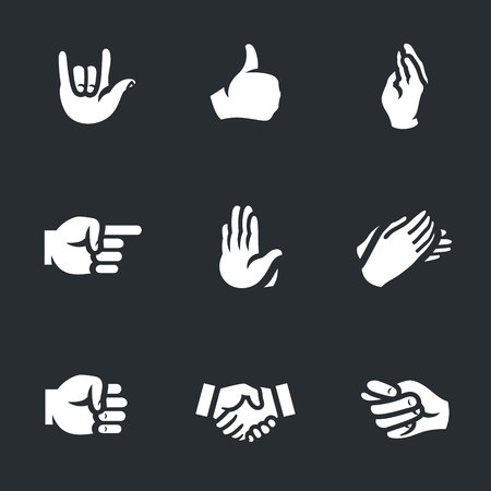 Vector Set of Hand gestures Icons.