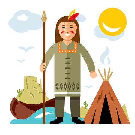 wigwam: A vector Indian with a spear. Flat style colorful Cartoon illustration.