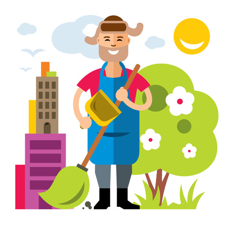 A vector janitor in a Flat style colorful cartoon illustration.