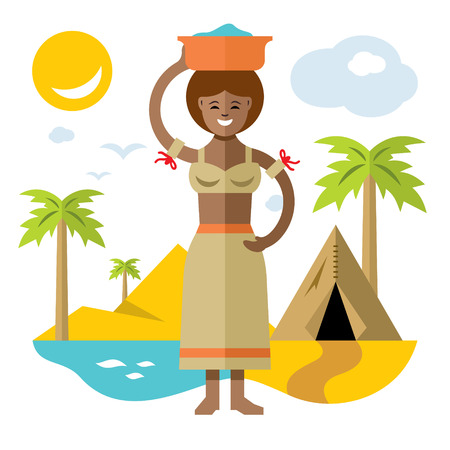 poverty: A vector African laundress flat style colorful Cartoon illustration.