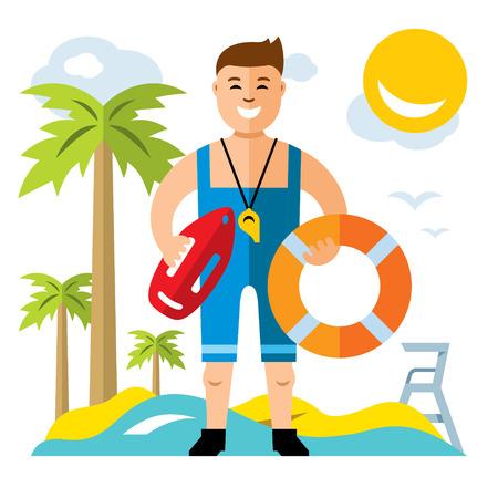 A vector Lifeguard, flat style colorful Cartoon illustration. Illustration