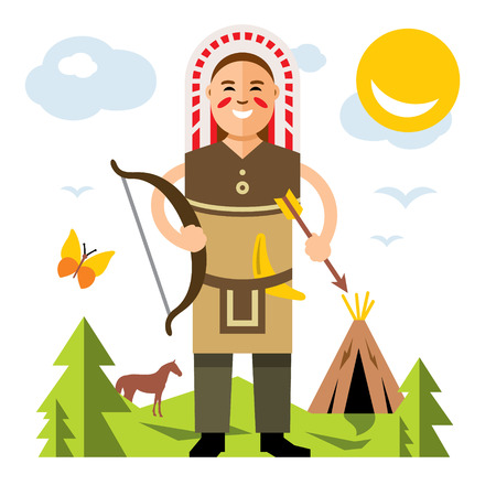 A vector Indian with bow and arrow flat style colorful Cartoon illustration.