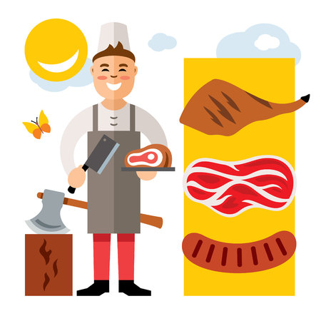 Vector Butcher. Flat style colorful Cartoon illustration. Çizim