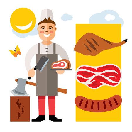 grocer: Vector Butcher. Flat style colorful Cartoon illustration. Illustration