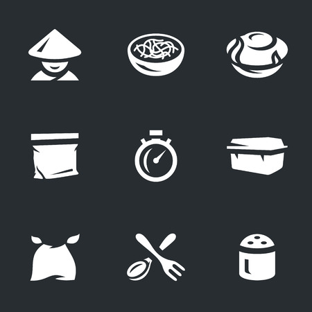 prepack: Vector Set of Instant Noodles Icons.