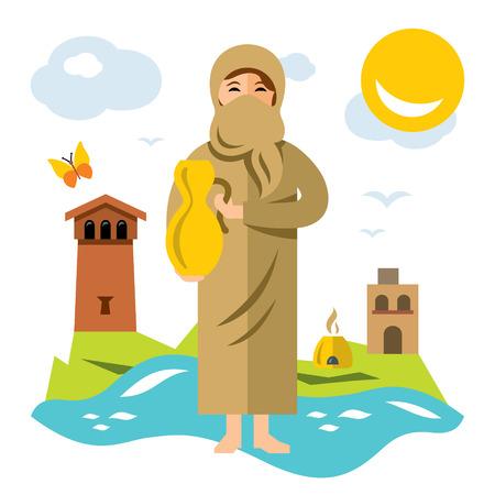 Vector Donna musulmana con la brocca d'acqua. Illustrazione del fumetto colorato stile piano.